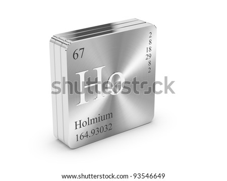 Holmium - element of the periodic table on metal steel block
