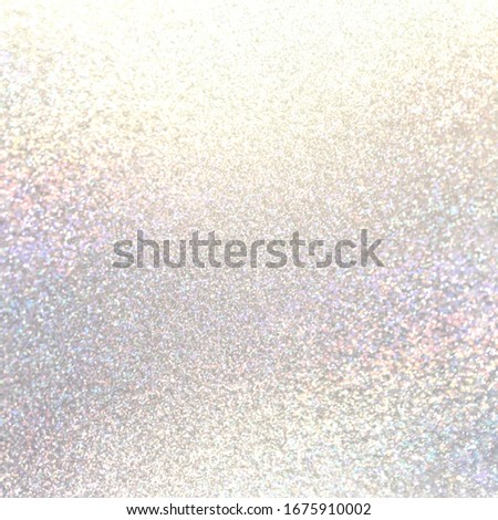 Holographic brilliance shimmer white textured background. Pastel glitter material surface. Delicate glitz festive decor. Foto d'archivio ©