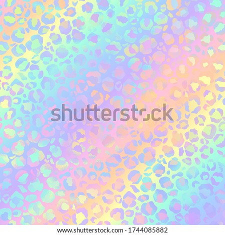 Holographic Leopard Print on Gradient Background - Cute holographic leopard spots pattern on bright pastel gradient background