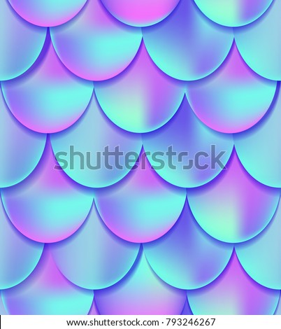 Holographic mermaid tail seamless pattern. Mermaid card decor element. Fish scales magic background. Print design for textile, posters, greeting cards, cases etc
