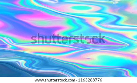 Holographic pastel neon aqua menthe cyan color surface with iridescent abstract effect. Holographic Iridescent spectrum background Stock photo ©