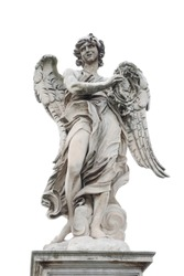 Holy angel at Ponte Sant Angelo, isolated at white background, Rome, Italy, summer