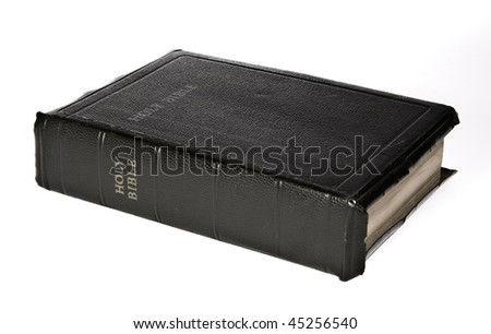 Holy Bible over white background. Is not isolated just shot asis
