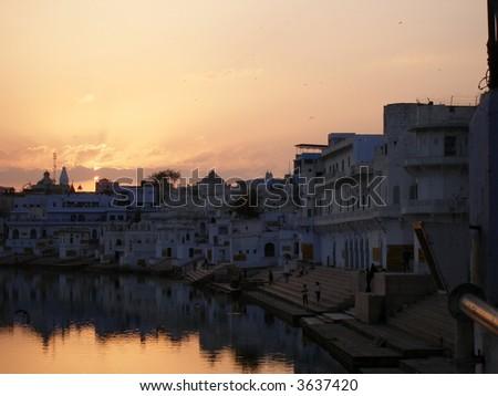 Holy city Pushkar with ghats