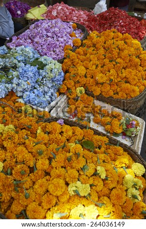 holy colorful petals and blossoms on a market in asia
