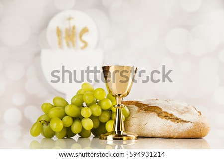 Holy communion a golden chalice, composition isolated on white #594931214