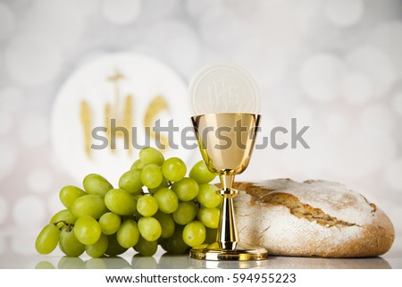 Holy communion a golden chalice, composition isolated on white #594955223