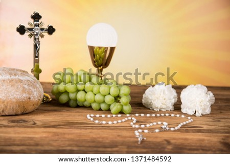 Holy Communion Bread, Wine for christianity religion #1371484592