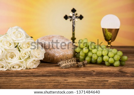 Holy Communion Bread, Wine for christianity religion #1371484640