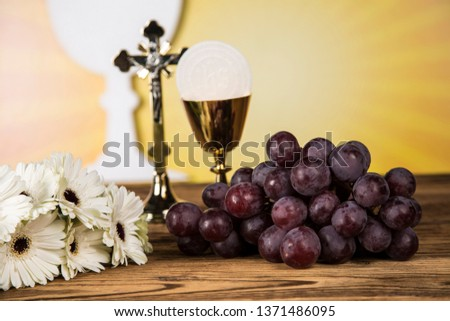 Holy Communion Bread, Wine for christianity religion  #1371486095