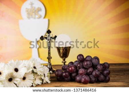 Holy Communion Bread, Wine for christianity religion  #1371486416