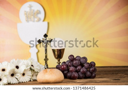 Holy Communion Bread, Wine for christianity religion  #1371486425