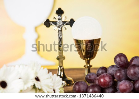 Holy Communion Bread, Wine for christianity religion  #1371486440