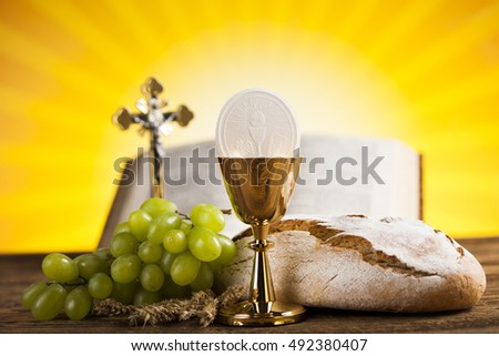 Holy Communion Bread, Wine for christianity religion #492380407