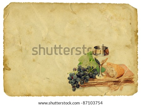 Holy communion elements on old paper background. Isolated on white.