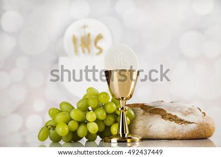 Holy communion elements on white background #492437449