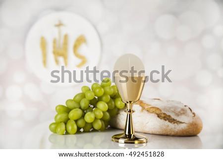 Holy communion elements on white background #492451828