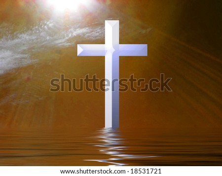 Holy Cross at Sunset illustration - stock photo