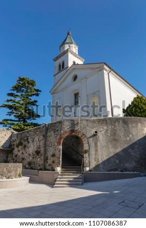 Holy Cross church in Vipavski Kriz, Slovenia Stok fotoğraf ©