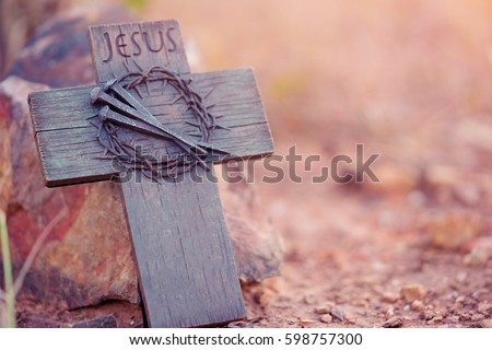 Holy cross, crown of thorns and nail.Easter and Good friday concept.Worship God concept.The Jesus Christ crown of thorns nail and the holy cross.