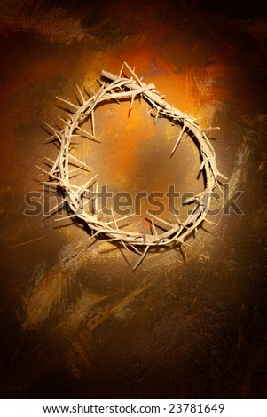 Holy crown of thorns hanging on a grungy wall at Easter