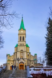 Holy Family Church in Zakopane with cross, Poland