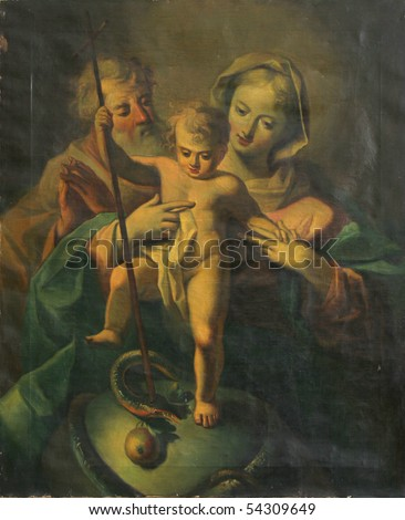 Holy Family with baby Jesus - stock photo
