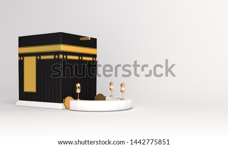 Holy Kaaba on white background. Design concept of islamic celebration eid al adha or hajj. 3D  illustration. 3D rendering illustration.