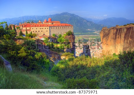 Holy Monastery of St. Stephen with Kalambaka City in the background, Meteora, Greece