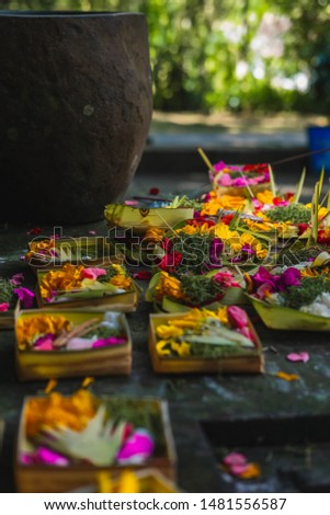 Holy Offerings in Bali to the Hindu Gods.