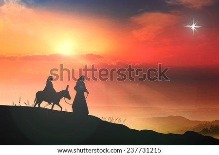 Holy religion Christmas concept: Silhouette pregnant Mary and Joseph with a donkey on nativity scene story background.