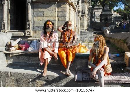 Holy sadhu men at Pashupatinath in Nepal