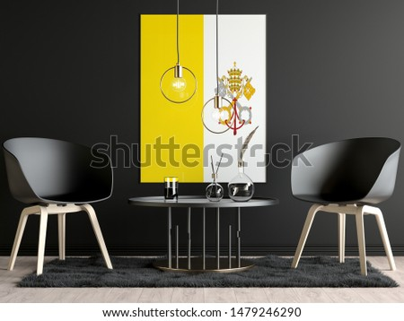 Holy See Flag in Room, Holy See Flag in Photo Frame