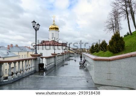 Holy Spirit female monastery and stairs to the Uspenskaya hill, Vitebsk, Belarus
