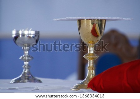 Holy Wafer. Holy communion in church. Taking holy Communion. Priest celebrate mass at the church. Cup of glass with red wine, bread. Feast of Corpus Christi. #1368334013