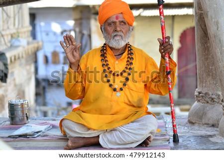 holy Yogi teacher Varanasi India Stock fotó ©