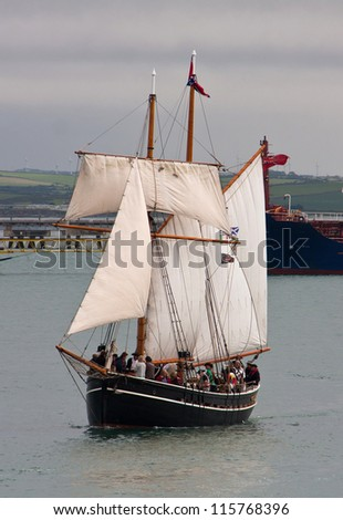 Holyhead Sailing Festival 2012 with historic ships having Mock Battles in the Parade of sail