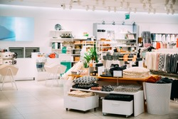 Home Accessories And Household Products In Store Of Shopping Center.