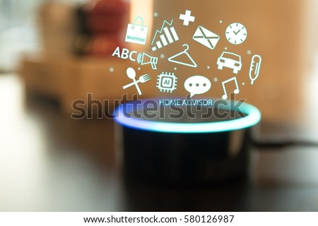 Home advisor , voice recognition , artificial intelligence device and internet of things concept. Technology icons and blur kitchen background. #580126987