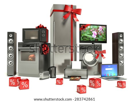 Home appliance with ribbons and discounts