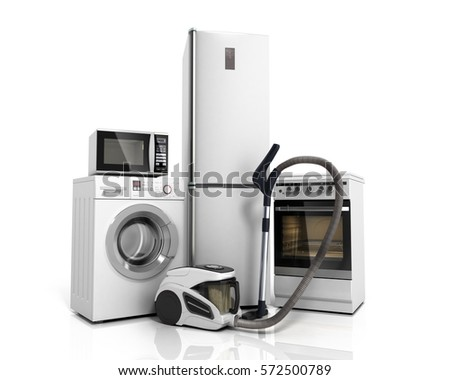 Home appliances Group of white refrigerator washing machine stove microwave oven vacuum cleaner isolated on white background 3d