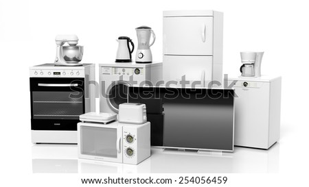 Home appliances isolated on white background