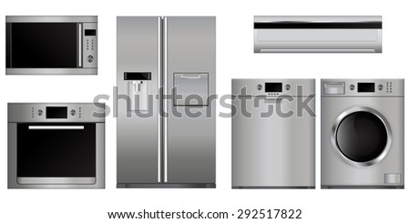 Home appliances. Set of household kitchen devices: Microwave and electric Oven, Dishwasher, refrigerator, split-system, washing machine . Isolated on white background. Raster version