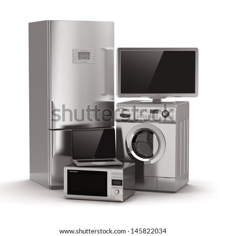 Home appliances. Tv, refrigerator, microwave, laptop and  washing maching. 3d