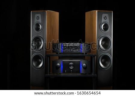 Home audio loudspeakers on black background
