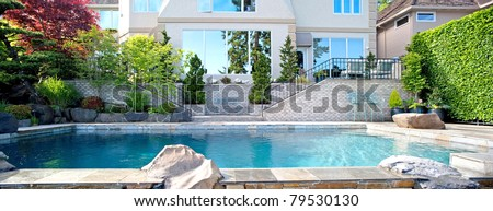 Home Backyard Exterior Panorama with Pool
