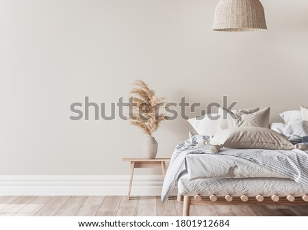 Home bedroom interior mockup with a wooden bed, beige and blue bedding, pillows, a vase of pampas and rattan lamp on empty wall background, 3d render, 3d illustration