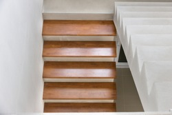 Home building design stair concrete top wood interior in site construction