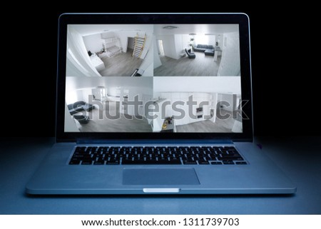 Home camera cctv monitoring monitor system alarm smart house video phone view concept - stock image #1311739703