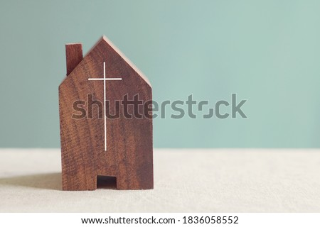Home church community, worship together at home, streaming online church service,   Mission of gospel, social distancing concept